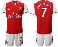 Mens 19-20 Soccer Arsenal Club #7 Mkhitaryan Red Home Short Sleeve Suit Jersey