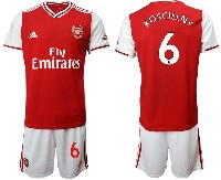 Mens 19-20 Soccer Arsenal Club #6 Koscielny Red Home Short Sleeve Suit Jersey