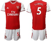 Mens 19-20 Soccer Arsenal Club #5 Gabriel Red Home Short Sleeve Suit Jersey