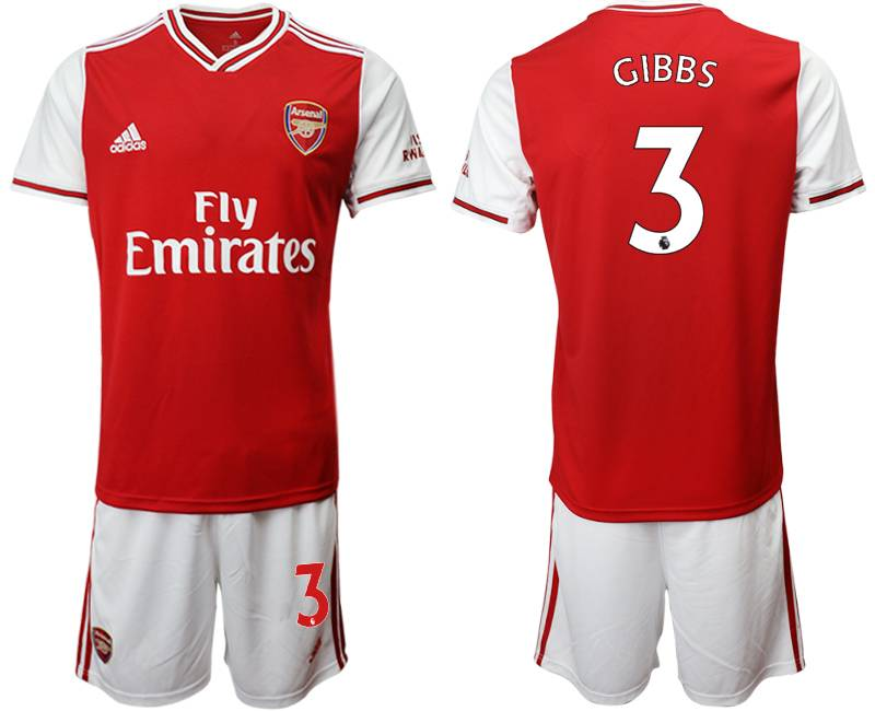 Mens 19-20 Soccer Arsenal Club #3 Gibbs Red Home Short Sleeve Suit Jersey