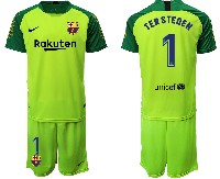 Mens 19-20 Soccer Barcelona Club #1 Terstegen Fluorescence Green Goalkeeper Short Sleeve Suit Jersey