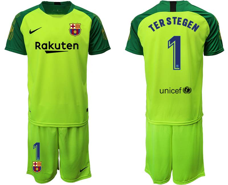 Mens 19-20 Soccer Barcelona Club #1 Terstegen Fluorescence Green Goalkeeper Short Sleeve Suit Jersey