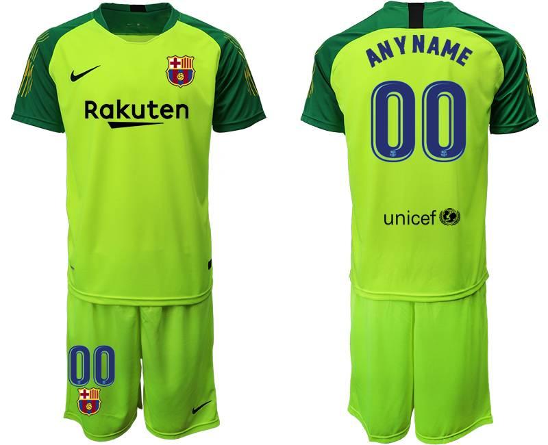 Mens 19-20 Soccer Barcelona Club ( Custom Made ) Fluorescence Green Goalkeeper Short Sleeve Suit Jersey