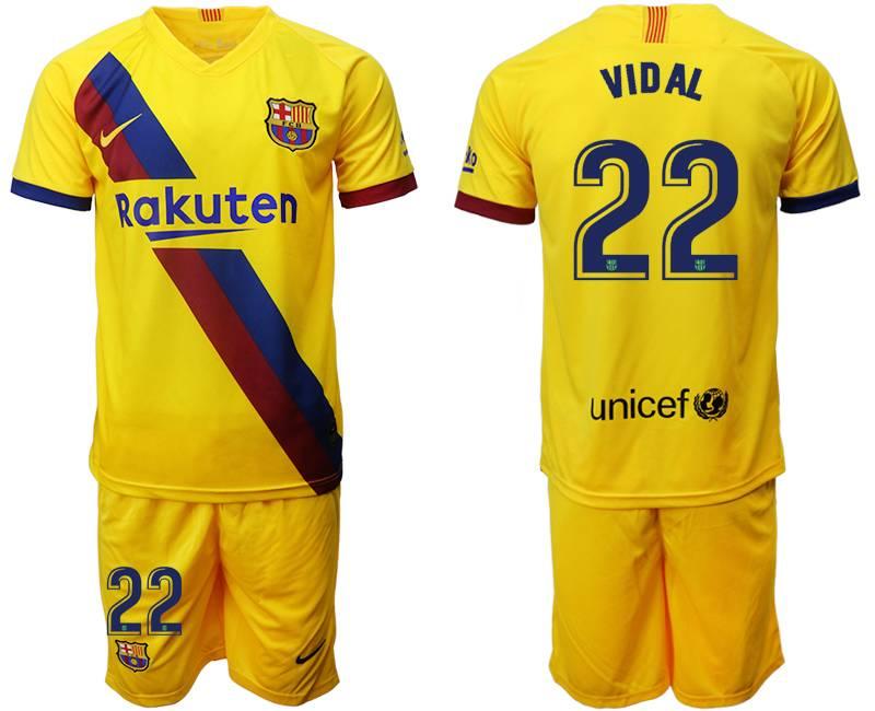 Mens 19-20 Soccer Barcelona Club #22 Vidal Yellow Away Short Sleeve Suit Jersey