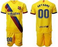 Mens 19-20 Soccer Barcelona Club ( Custom Made ) Yellow Away Short Sleeve Suit Jersey