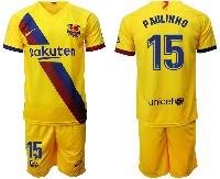 Mens 19-20 Soccer Barcelona Club #15 Paulinho Yellow Away Short Sleeve Suit Jersey