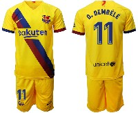 Mens 19-20 Soccer Barcelona Club #11 O. Dembele Yellow Away Short Sleeve Suit Jersey