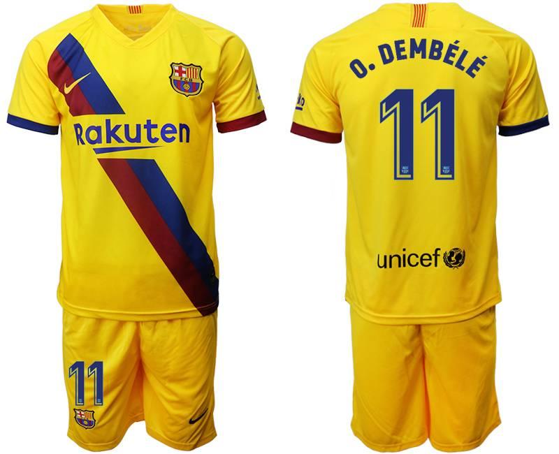 Mens 19-20 Soccer Barcelona Club #11 O. Dembele Yellow Away Short Sleeve Suit Jersey