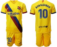 Mens 19-20 Soccer Barcelona Club #10 Ronaldinho Yellow Away Short Sleeve Suit Jersey