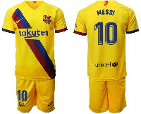 Mens 19-20 Soccer Barcelona Club #10 Messi Yellow Away Short Sleeve Suit Jersey