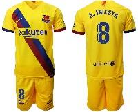 Mens 19-20 Soccer Barcelona Club #8 A. Iniesta Yellow Away Short Sleeve Suit Jersey