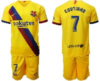 Mens 19-20 Soccer Barcelona Club #7 Coutinho Yellow Away Short Sleeve Suit Jersey