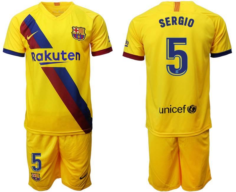 Mens 19-20 Soccer Barcelona Club #5 Sergio Yellow Away Short Sleeve Suit Jersey