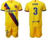 Mens 19-20 Soccer Barcelona Club #3 Pique Yellow Away Short Sleeve Suit Jersey