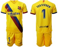 Mens 19-20 Soccer Barcelona Club #1 Terstegen Yellow Away Short Sleeve Suit Jersey