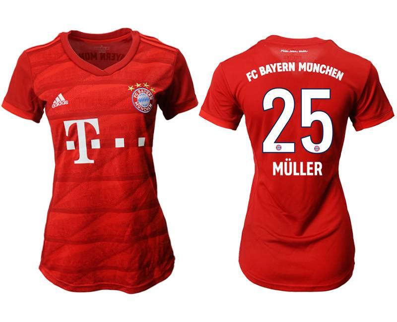 Women 19-20 Soccer Bayern Munchen #25 Muller Red Home Short Sleeve Suit Jersey