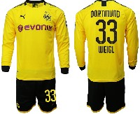Mens 19-20 Soccer Borussia Dortmund Club #33 Weigl Yellow Home Long Sleeve Suit Jersey