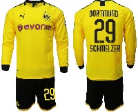 Mens 19-20 Soccer Borussia Dortmund Club #29 Schmelzer Yellow Home Long Sleeve Suit Jersey