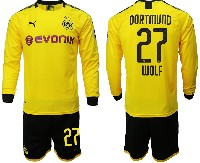 Mens 19-20 Soccer Borussia Dortmund Club #27 Wolf Yellow Home Long Sleeve Suit Jersey