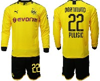 Mens 19-20 Soccer Borussia Dortmund Club #22 Pulisic Yellow Home Long Sleeve Suit Jersey