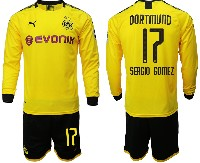 Mens 19-20 Soccer Borussia Dortmund Club #17 Sergio Gomez Yellow Home Long Sleeve Suit Jersey
