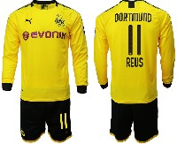 Mens 19-20 Soccer Borussia Dortmund Club #11 Reus Yellow Home Long Sleeve Suit Jersey