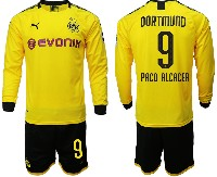 Mens 19-20 Soccer Borussia Dortmund Club #9 Paco Alcacer Yellow Home Long Sleeve Suit Jersey