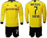 Mens 19-20 Soccer Borussia Dortmund Club #7 Sancho Yellow Home Long Sleeve Suit Jersey