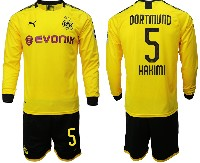Mens 19-20 Soccer Borussia Dortmund Club #5 Hakimi Yellow Home Long Sleeve Suit Jersey