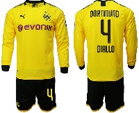 Mens 19-20 Soccer Borussia Dortmund Club #4 Diallo Yellow Home Long Sleeve Suit Jersey