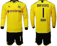 Mens 19-20 Soccer Borussia Dortmund Club #1 Burki Yellow Home Long Sleeve Suit Jersey