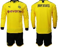 Mens 19-20 Soccer Borussia Dortmund Club ( Blank ) Yellow Home Long Sleeve Suit Jersey
