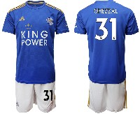 Mens 19-20 Soccer Leicester City Club #31 Ghezzal Blue Home Short Sleeve Suit Jersey