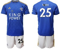 Mens 19-20 Soccer Leicester City Club #25 Ndidi Blue Home Short Sleeve Suit Jersey