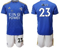 Mens 19-20 Soccer Leicester City Club #23 Silva Blue Home Short Sleeve Suit Jersey