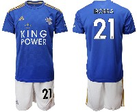 Mens 19-20 Soccer Leicester City Club #21 Iborra Blue Home Short Sleeve Suit Jersey