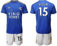 Mens 19-20 Soccer Leicester City Club #15 Maguire Blue Home Short Sleeve Suit Jersey