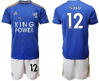 Mens 19-20 Soccer Leicester City Club #12 Ward Blue Home Short Sleeve Suit Jersey