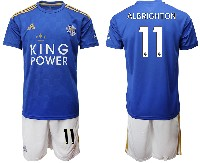 Mens 19-20 Soccer Leicester City Club #11 Albrighton Blue Home Short Sleeve Suit Jersey