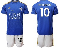 Mens 19-20 Soccer Leicester City Club #10 Maddison Blue Home Short Sleeve Suit Jersey