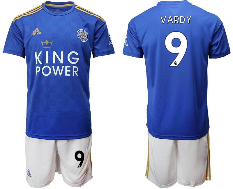 Mens 19-20 Soccer Leicester City Club #9 Vardy Blue Home Short Sleeve Suit Jersey
