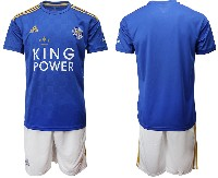 Mens 19-20 Soccer Leicester City Club ( Blank ) Blue Home Short Sleeve Suit Jersey