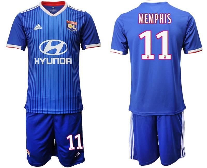 Mens 19-20 Soccer France National Team #11 Memphis Blue Away Short Sleeve Suit Jersey