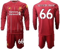 Mens 19-20 Soccer Liverpool Club #66 Alexander-arnold Red Home Long Sleeve Suit Jersey