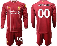 Mens 19-20 Soccer Liverpool Club ( Custom Made ) Red Home Long Sleeve Suit Jersey