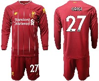 Mens 19-20 Soccer Liverpool Club #27 Origi Red Home Long Sleeve Suit Jersey