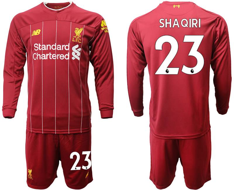 Mens 19-20 Soccer Liverpool Club #23 Shaqiri Red Home Long Sleeve Suit Jersey