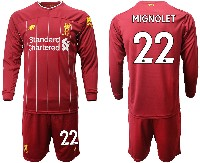 Mens 19-20 Soccer Liverpool Club #22 Mignolet Red Home Long Sleeve Suit Jersey