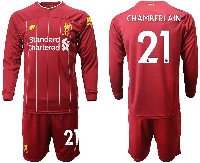 Mens 19-20 Soccer Liverpool Club #21 Chamberlain Red Home Long Sleeve Suit Jersey