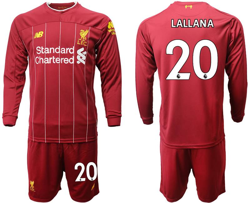 Mens 19-20 Soccer Liverpool Club #20 Lallana Red Home Long Sleeve Suit Jersey